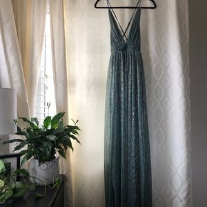 Iridescent Mermaid Green Blue Gown